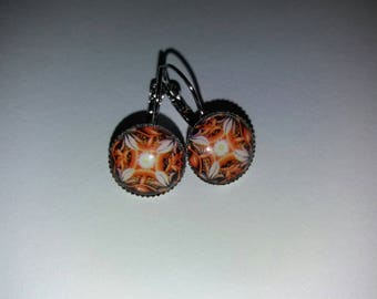 pattern 13 mandala glass cabochon earrings