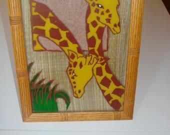 Giraffe painting on glass framed