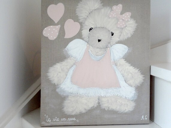 Tableau ourson peinture pour chambre de petite fille - Tableau chambre fille ...