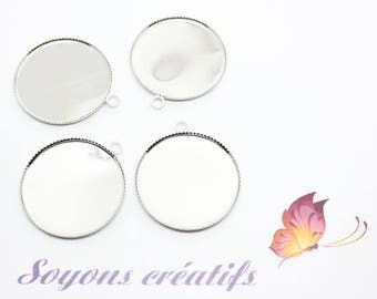 2 silver charm pendants 25mm - SC65687 cabochon-