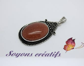 Beautiful charm pendant antiqued Silver Oval 53x30mm Brown Goldstone stone