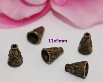 Set of 20 bead caps cone Bronze 11x9mm - SC13571-