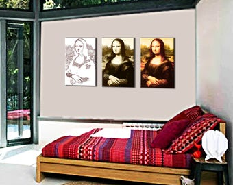Painting on canvas triptych Mona Lisa style evolution 3 x(80x55) 3D (28 mm)