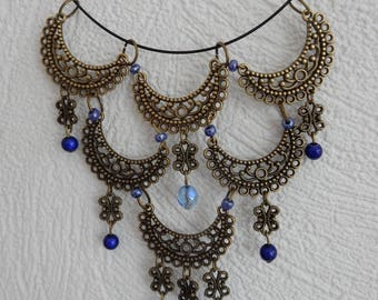 Elegant Oriental inspired bronze and blue necklace