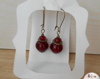 Ethnic earrings Ruby red glass beads