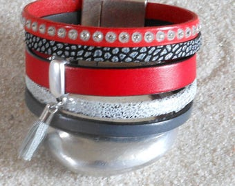 Red leather and grey Swarovsky crystals on silver clasp Cuff Bracelet