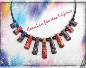 Necklace stones purple/pink, natural tones tube black PVC and black glass beads
