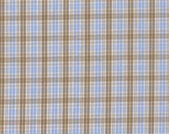 Beige Plaid cotton and sky by 50cm x 150cm width
