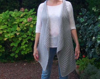Vest long unstructured grey Pearl