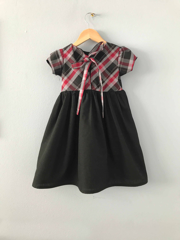 raspite girls dress girls plaid dress girls holiday dress toddler dress black - Girls Plaid Christmas Dress