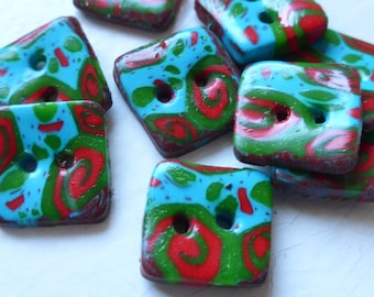 Set nature square buttons two hole blue red green brown