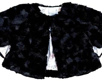 Faux Fur Poncho- Black