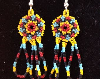Woven Ember Flower Earrings