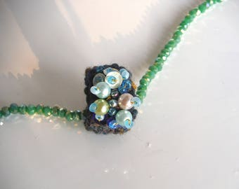 wool blend blue color ring and mix beads handmade/ring with beads