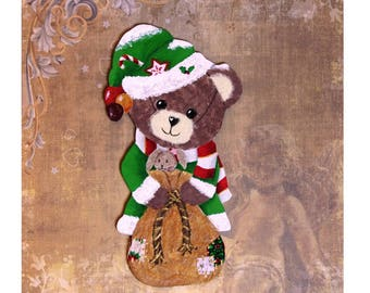 "Amandine ""Christmas Lutine"" bear in wood and paper"