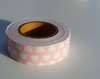 3.50 meters of masking tape sticker ruban Pink White heart background