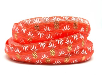 Elastic bias tape pink coral and gold patterns pineapple