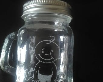 Mini Mason Jar of 8.5 cm for favors - customization available - baby print