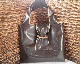 burlap bag faux leather