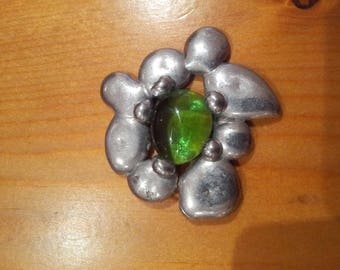 Pewter pendant raw stone glass