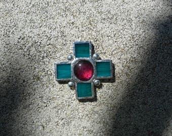 Baroque rose red heart cross pendant