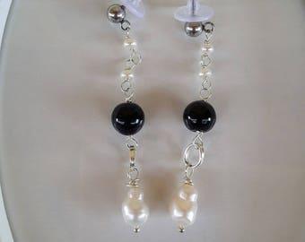 Earrings Black Onyx Rosary