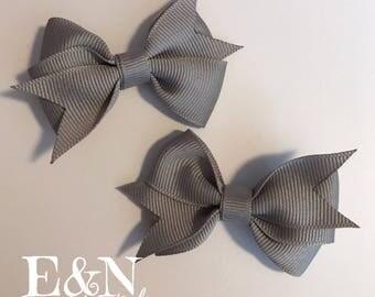 Gray pig tail hair bows - pig tail hair bows - gray hair bows - baby hair bows - toddler hair bows