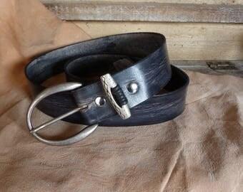 antique look black leather belt