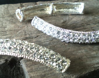☆ Silver connector/link and rhinestone / bracelet or necklace / 42 x 8 x 5 mm☆