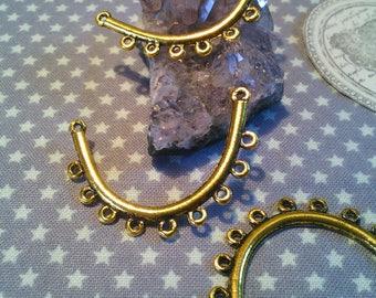 Set of 2 brackets/connectors antique gold 40 X 25 MM 9 all 1 mm.