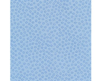 plain faux patchwork fabric blue with stars