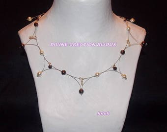 Brown and ivory collar style necklace