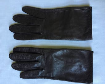 Vintage Roger Fare Brown Leather Gloves Made in French Kidskin