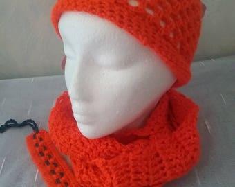 Summer Hat + summer loop + chain together in a set, orange colour