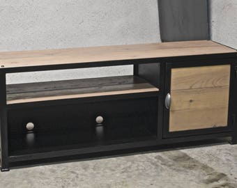 Metal industrial Tv stand & wood model 140 cm