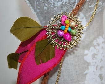 headband pink and green feathers and silk