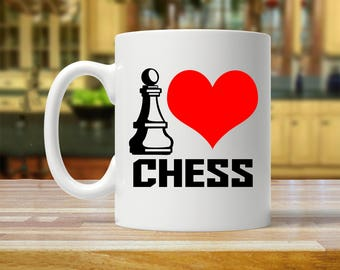 i love chess, chess mug, gift for chess lover, gift for chess player, chess gift, chess gifts, chess coffee mug, chess coffee cup, chess