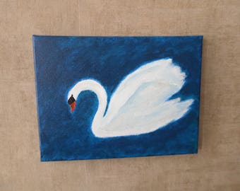 "Table painting, canvas ""give me a Swan"""
