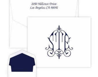 Personalized Whitlock Monogram Note Card