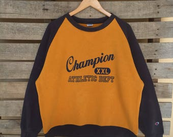 Rare! Vintage Champion Sweatshirt Big Logo Big Spell out Jumper Pullover 90s XL Size Rare Item