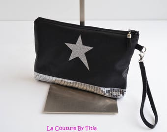 Clutch faux leather Croco Black Star Silver glitters handmade @lacouturebytitia