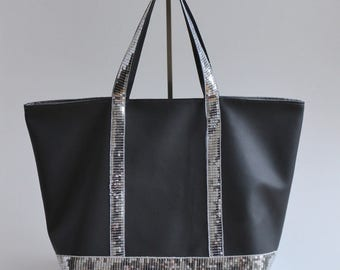 Grey silver glitter leatherette tote bag handmade @lacouturebytitia