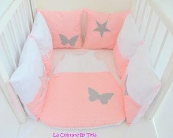 Tour de lit et gigoteuse fait main papillon gris et jaune - Tour de lit rose poudre ...