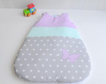 Sleeping bag sleeping bag 0-6 months handmade stars gray green purple @lacouturebytitia Butterfly