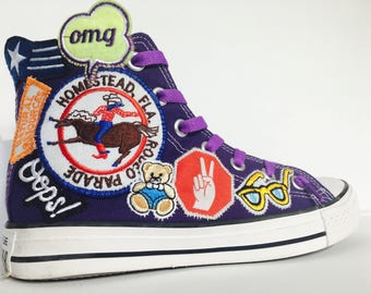Custom Converse High Tops Sew On Patches Retro Funky Cool One Of A Kind No Two The Same