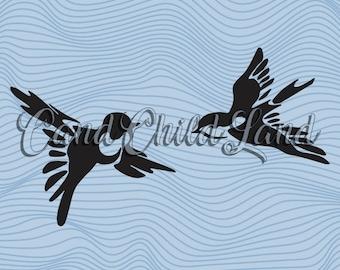 Birds SVG, Birds DXF, Birds PNG, Bird Cutting Files, Clipart Bird, Dxf Files Bird, Silhouette Swallow, Bird Svg, Png, Dxf, Pdf, Eps