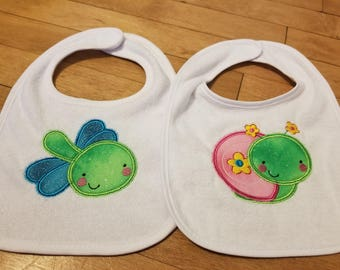 Two Pack of Cute Bug Bibs (Appliqued)