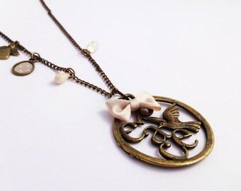 asymmetric beige version Peace necklace