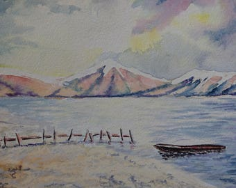 Sea Shore  Landscape Fine Art Watercolors A4, Contemporary art, littlecl@mail.ru, if interested more on facebook
