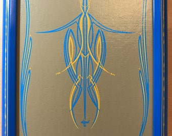 Pinstripe art, wall art, man cave art.